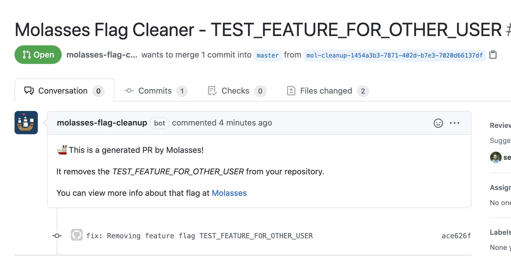 A github PR opened by Molasses to clean up code
