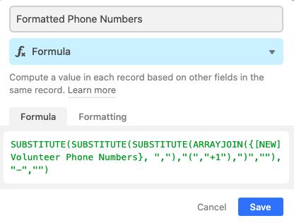 Formatted phone number column setup