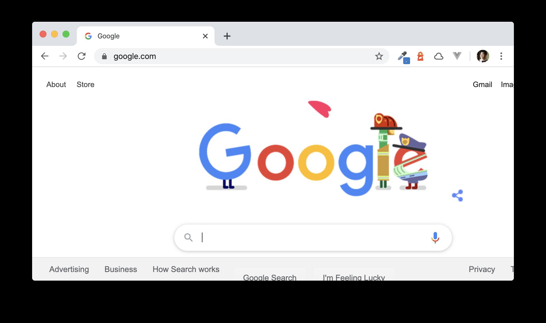 Google main page screenshot on April 8th 2020