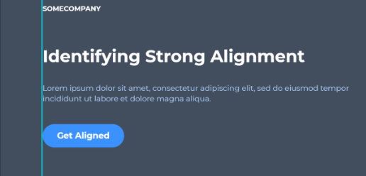 Page with strong alignment