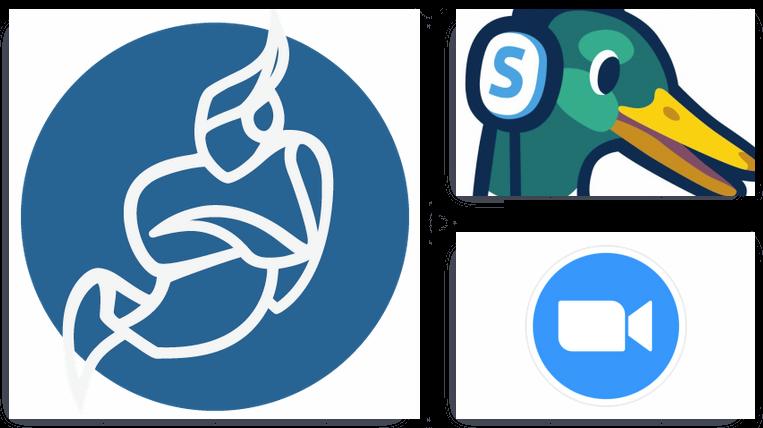Jitsi, Zoom and Streamyard logos