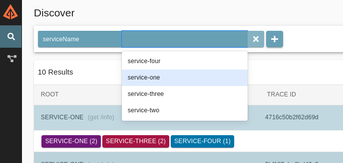 Filter by service name