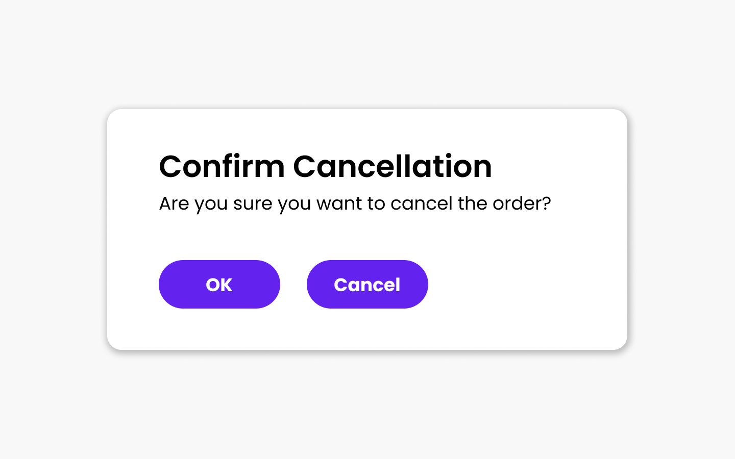 Confirm cancellation message