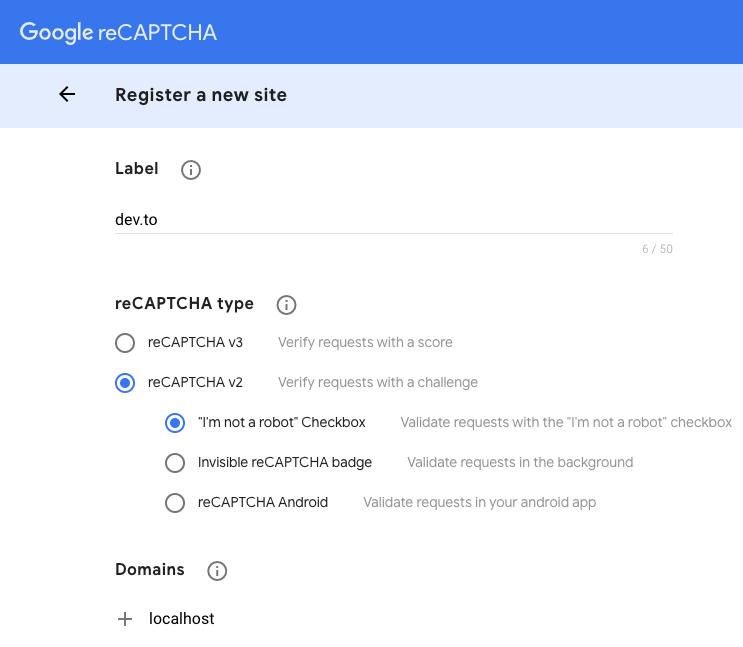 Google reCaptcha sign up form