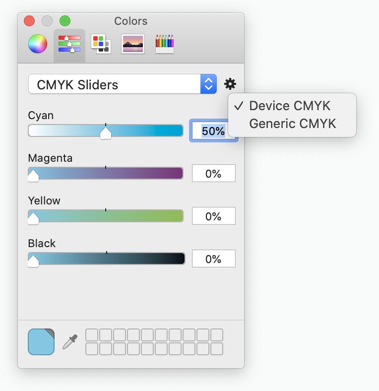 CMYK color picker on Mac