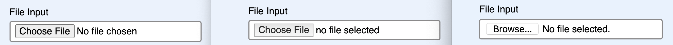 current state of the file input styling across browsers