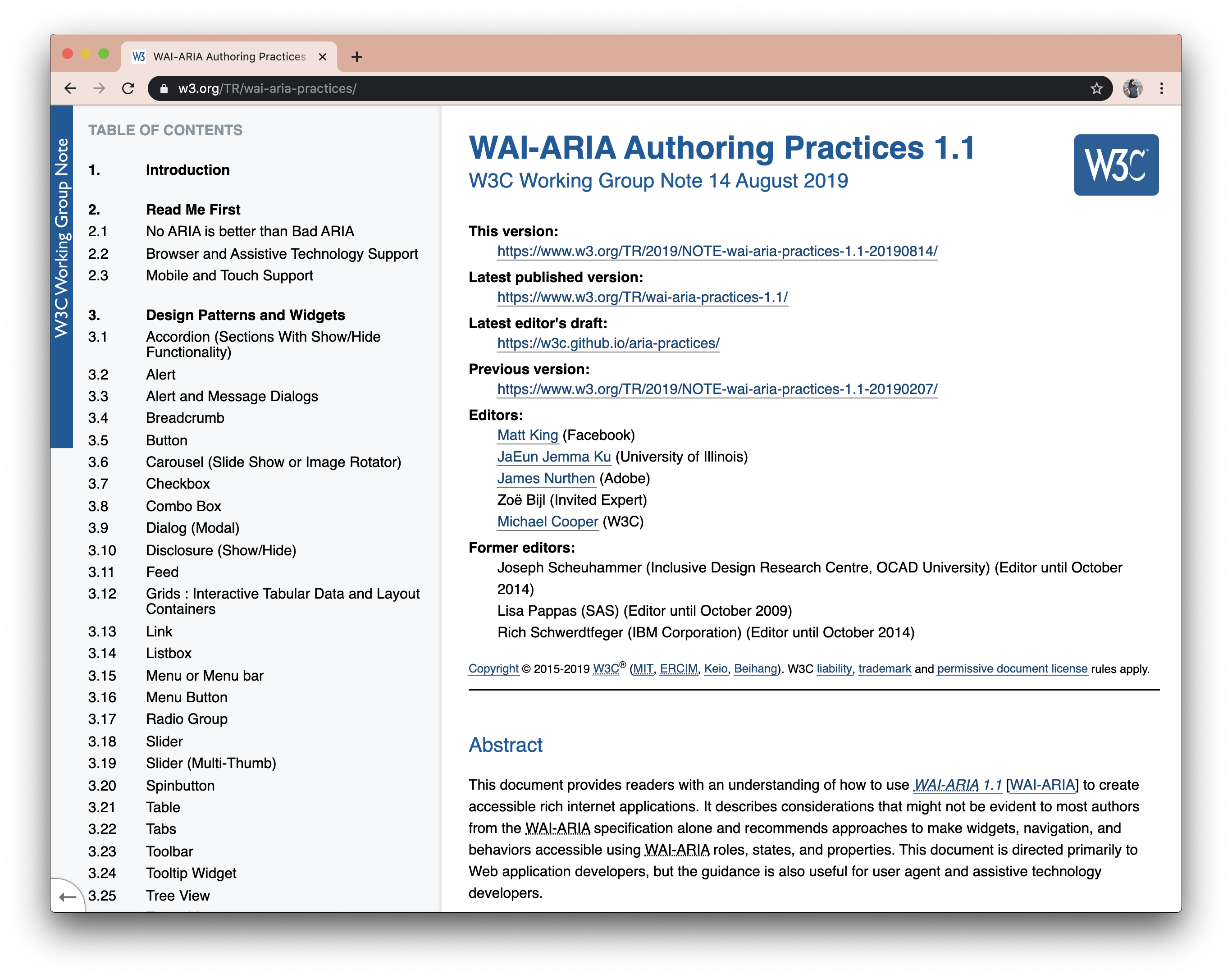 Screenshot of the WAI-ARIA Authoring Practices webpage.