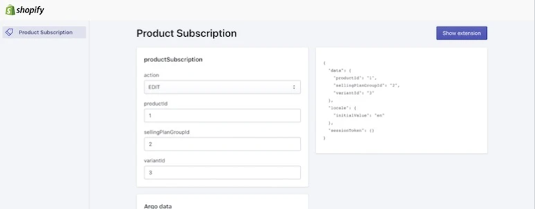 Shopify Product Subscription App Extension