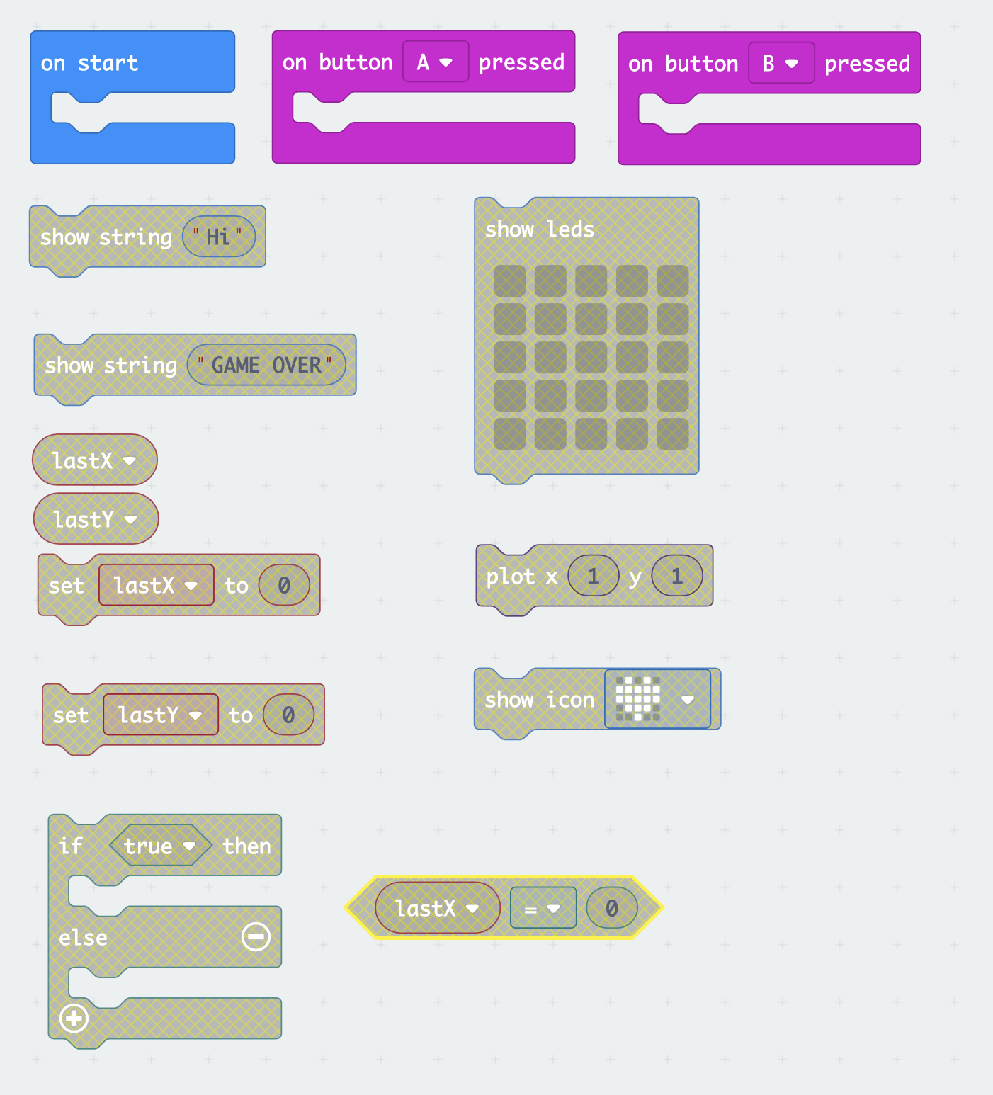 micro:bit blocks required for the assignment