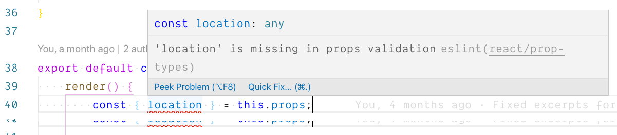 A screen shot of a lint error