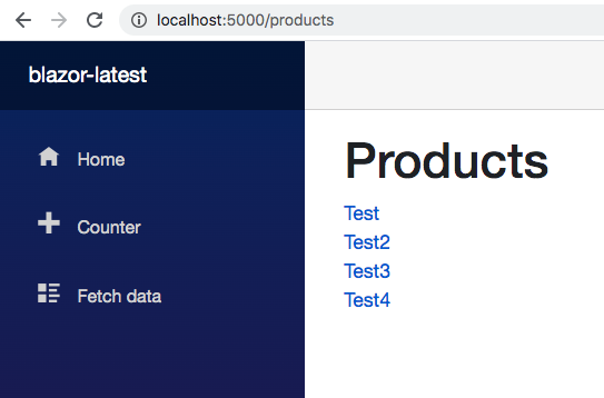 Product list view