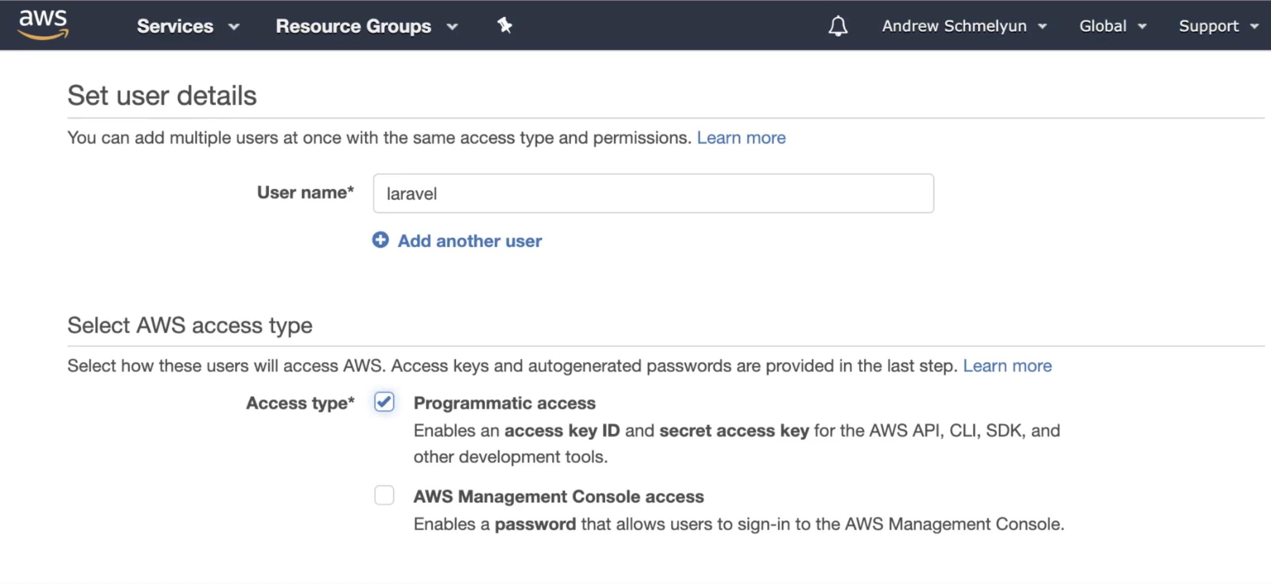 Screenshot of AWS IAM user details page