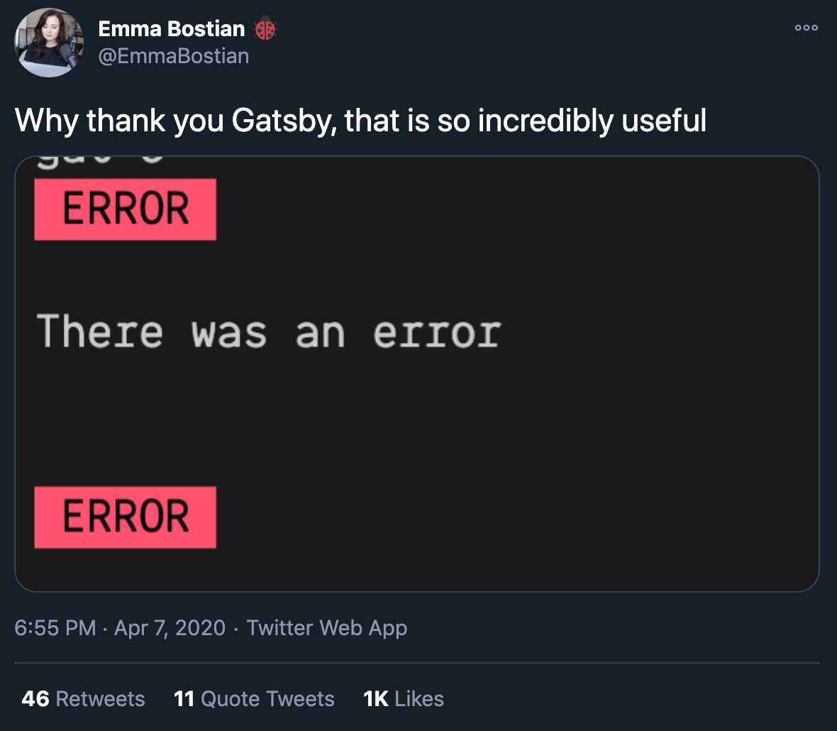 Example of unhelpful error message from Twitter screenshot