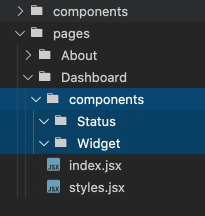 component sub folder