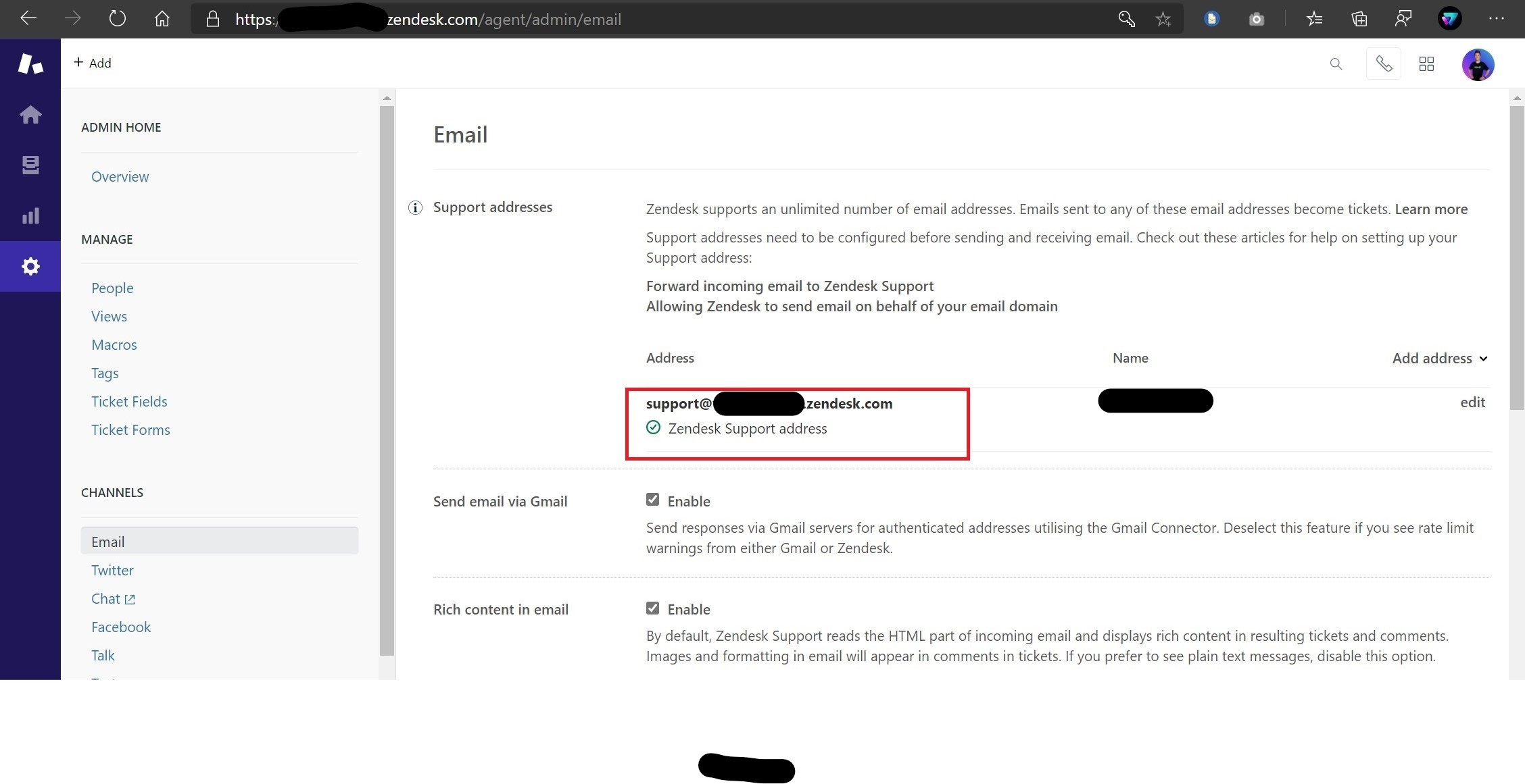 Zendesk support email