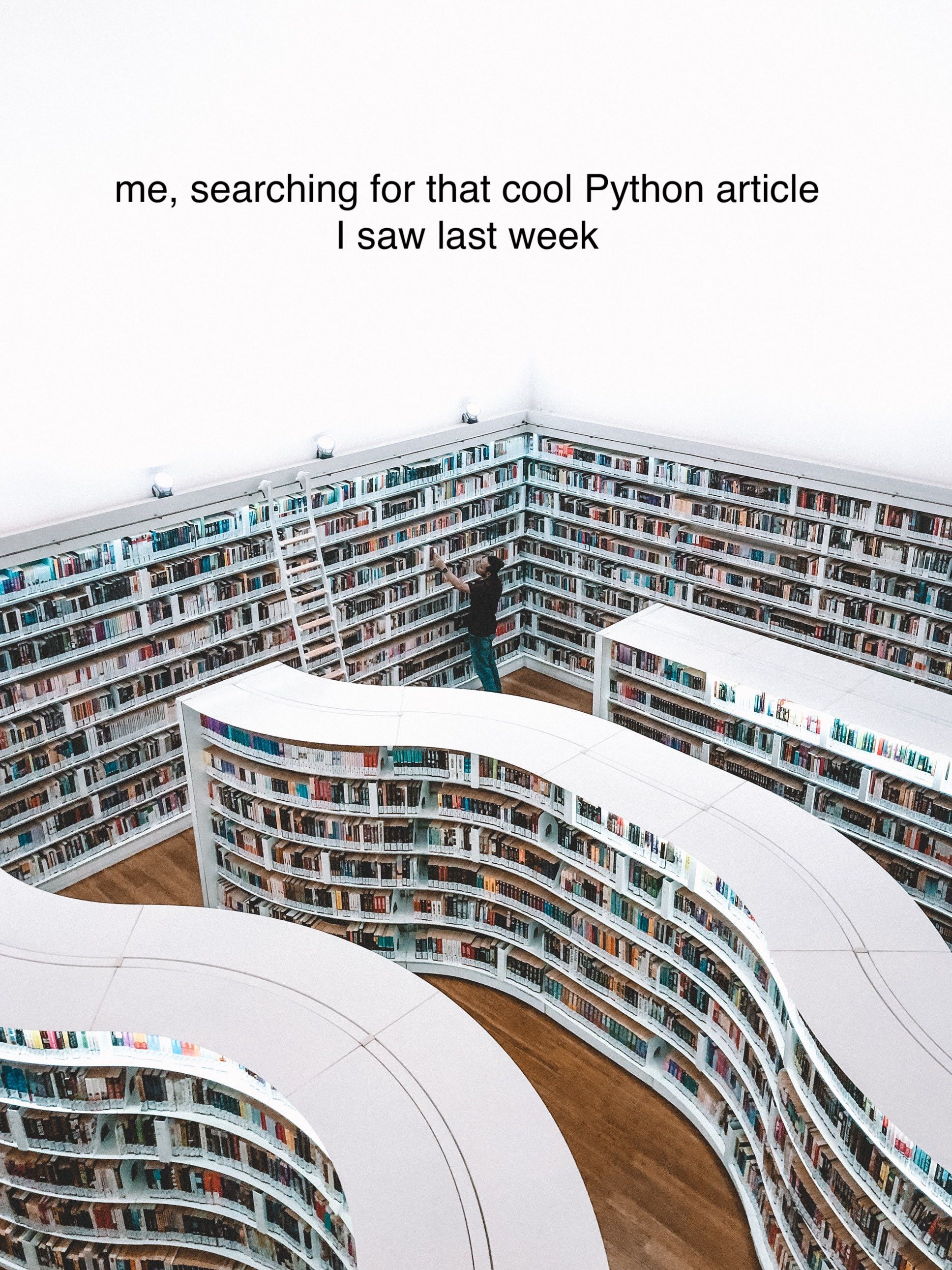 Me, searching for that cool Python article I saw last week
