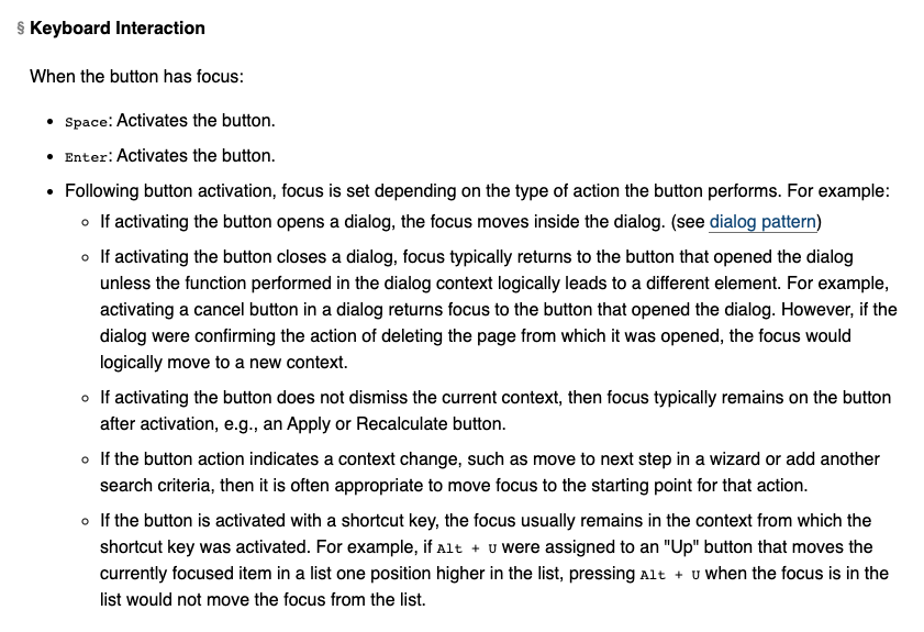 Screenshot of the keyboard interaction section for the Button widget.