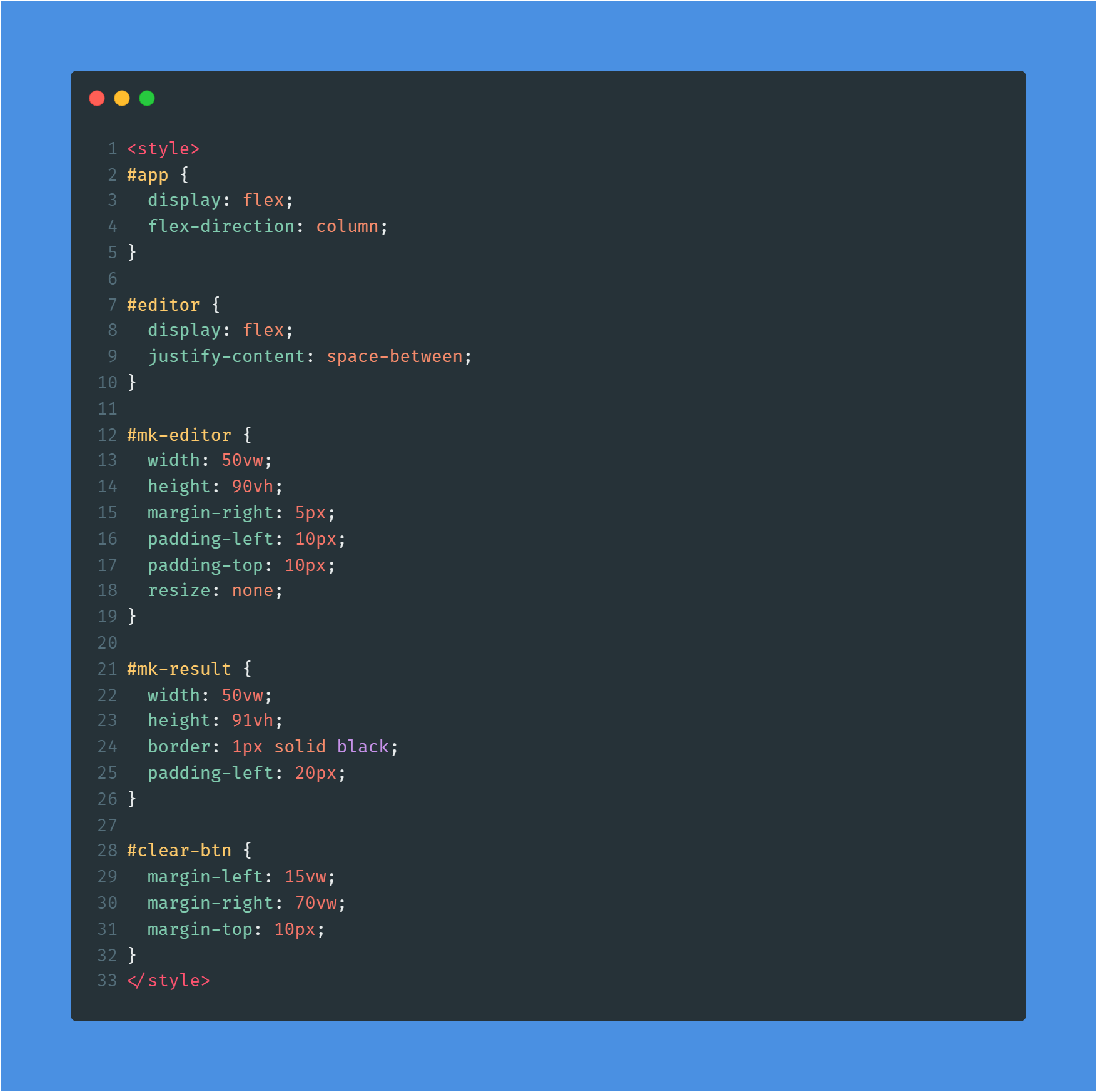 CSS styling for the editor