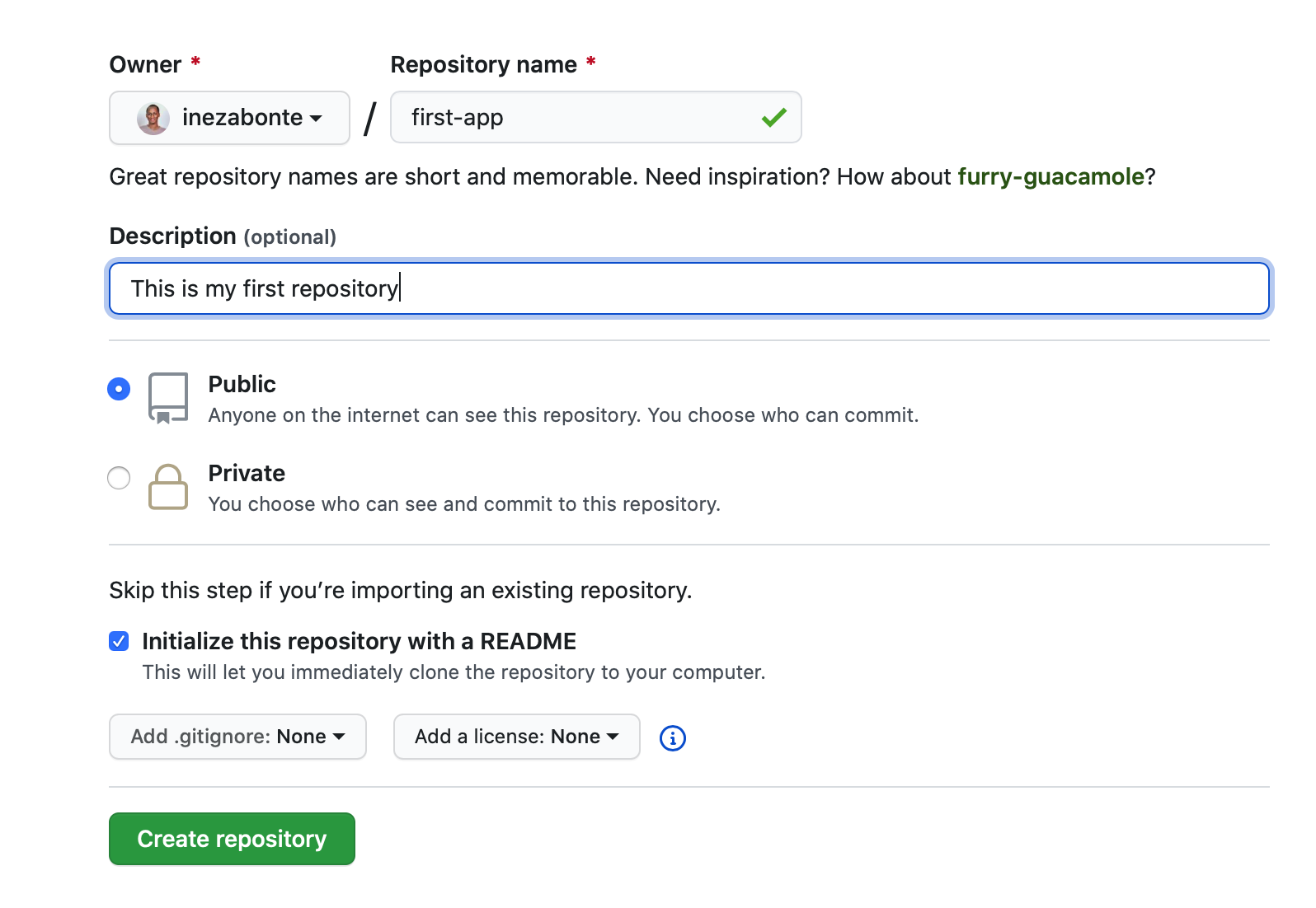 creating a repository