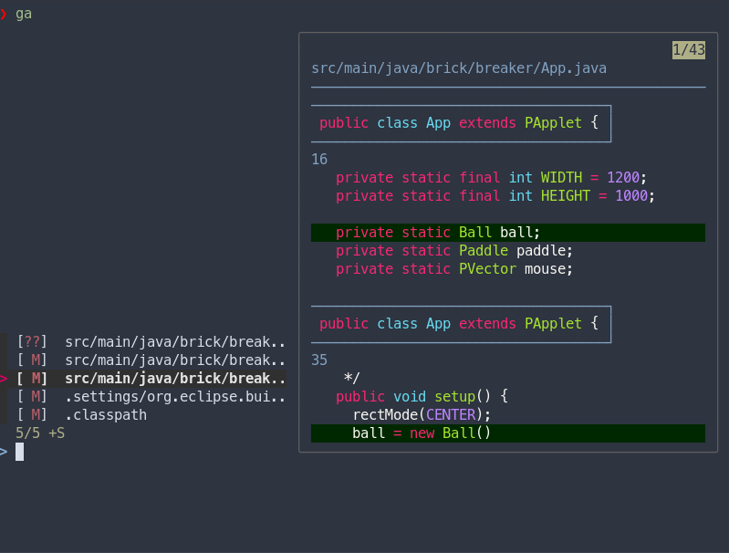 Using git-add with forgit shows all changed files and previews their diff
