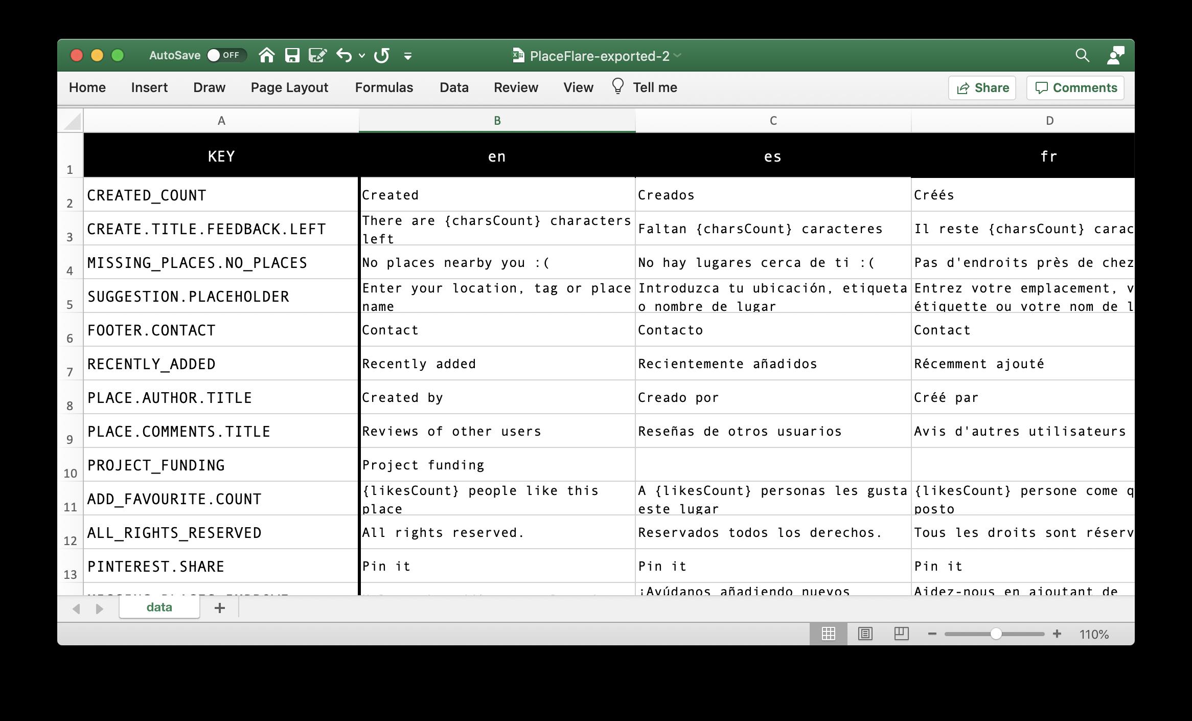 i18n app translations in Excel file
