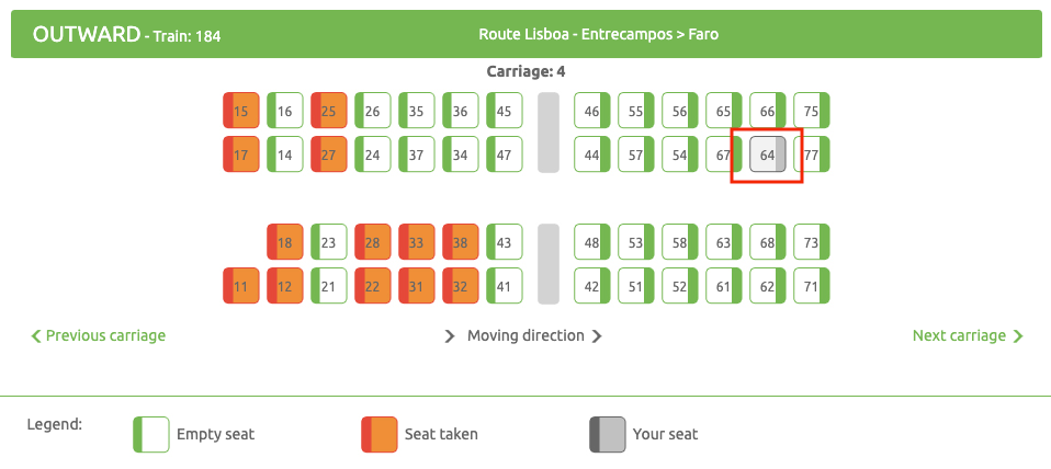 Seat selected through code