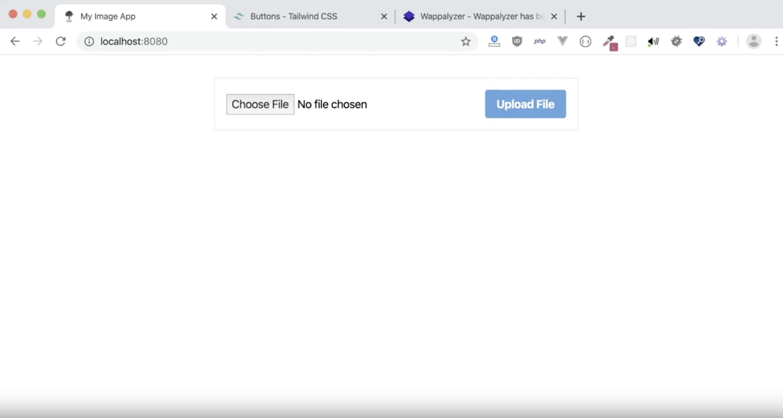 Screenshot of a super simple upload form