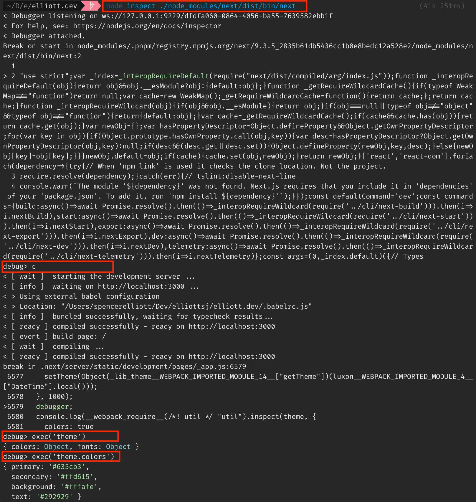 node inspect