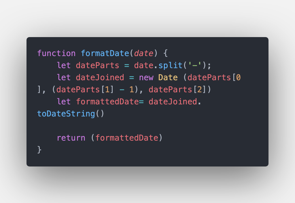 Code for format date function