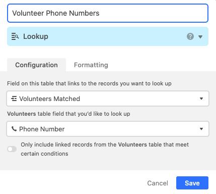 Volunteer Phone Numbers column in Airtable