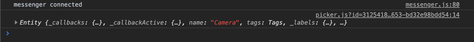 Console log for camera