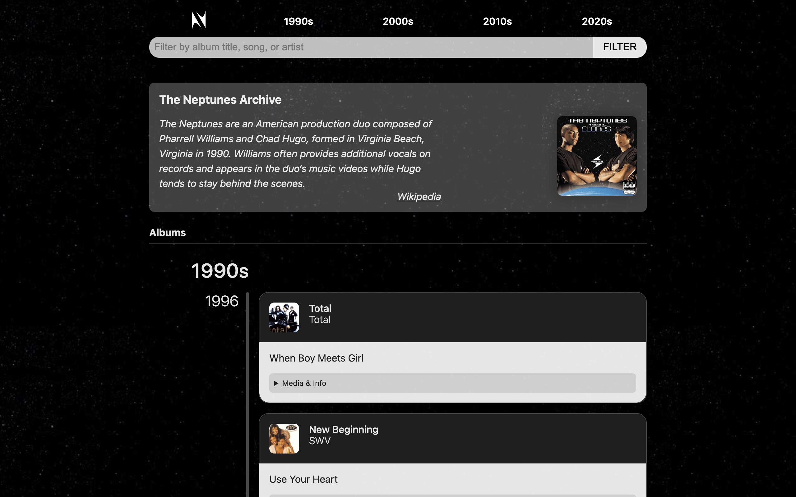 Screenshot of theneptunes.1thingaweek.com