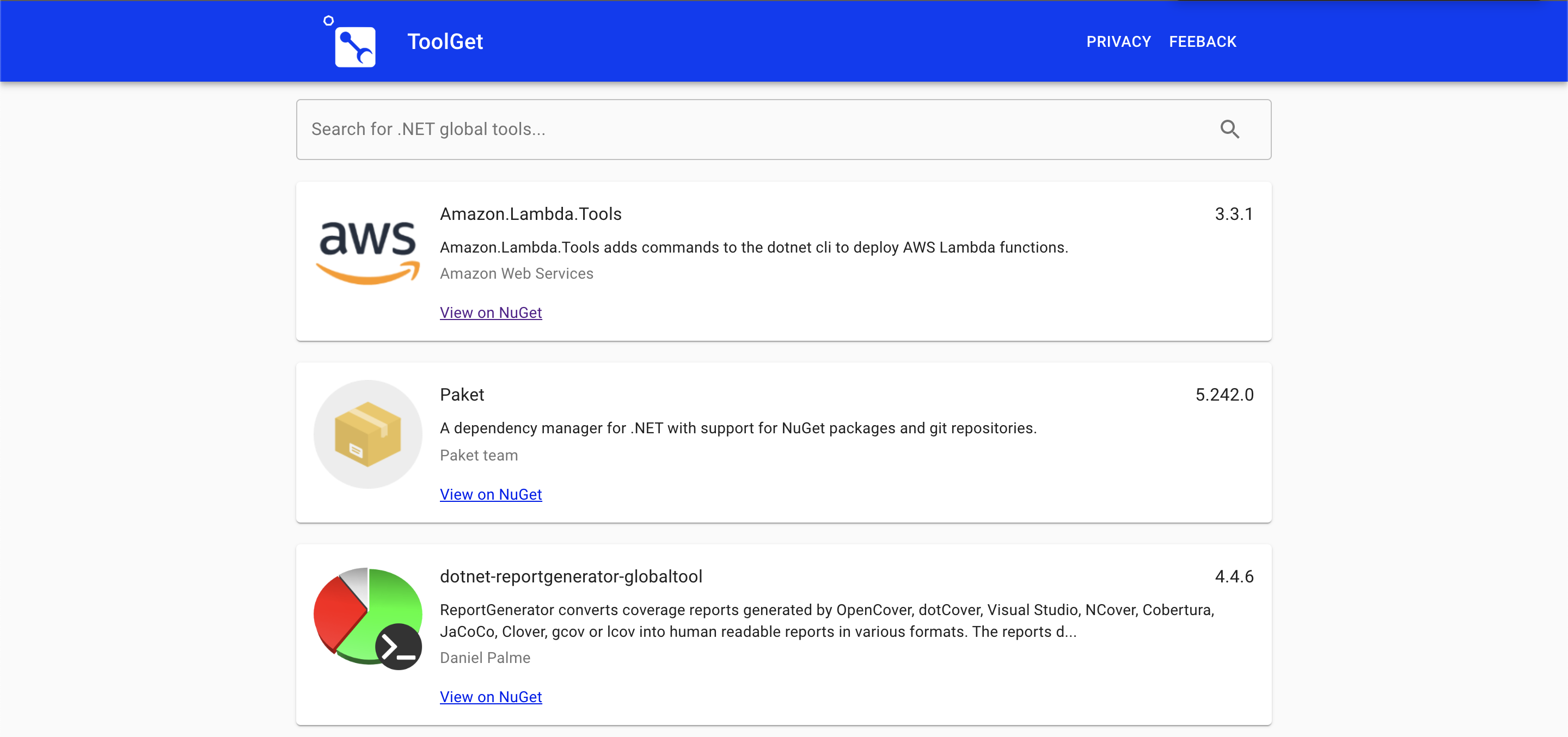 Example ToolGet search