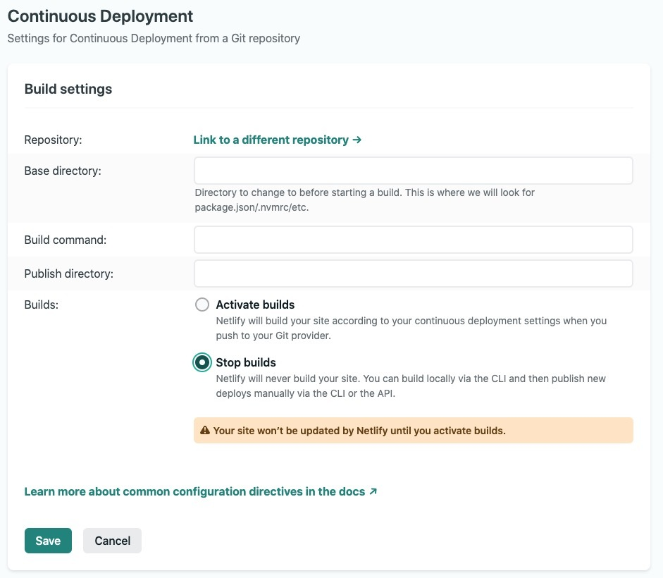Screenshot of the Build settings on Netlify