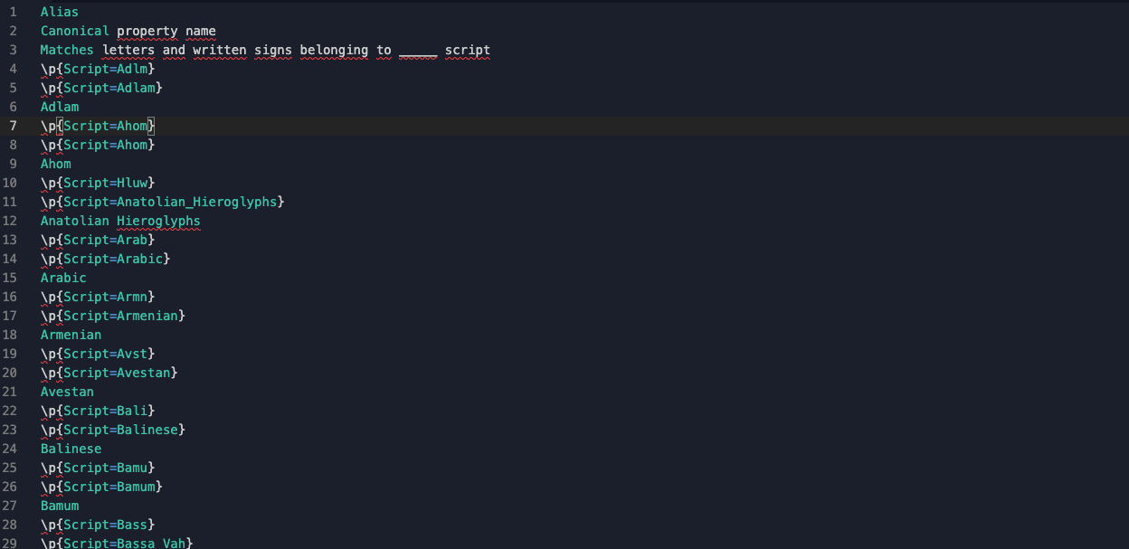 The values from the table posted into a Repl -- the formatting is all wrong!
