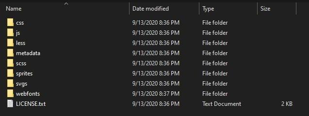 Windows Explorer view of Font Awesome assets folder