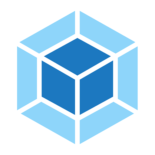 Webpack logo. A dark blue and light blue diamond shape.