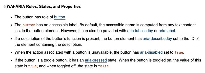 Screenshot of the WAI-ARIA roles, states, and properties section for the Button widget.
