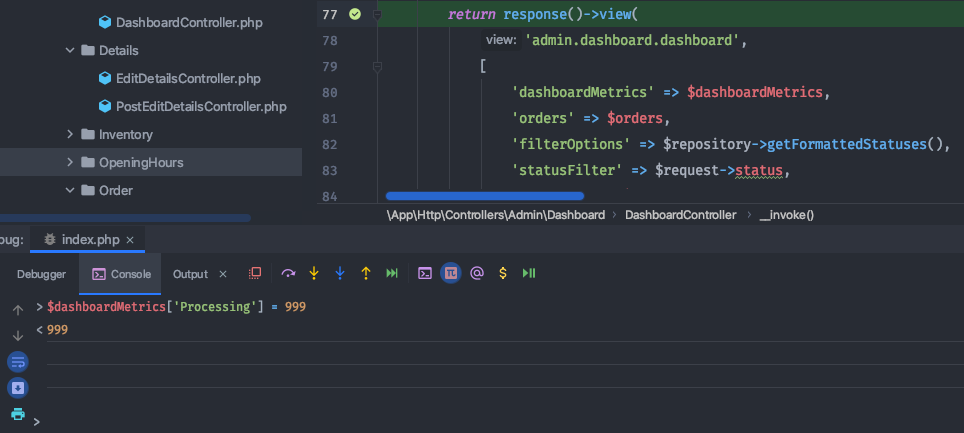 Console in PHPStorm changing the variable value