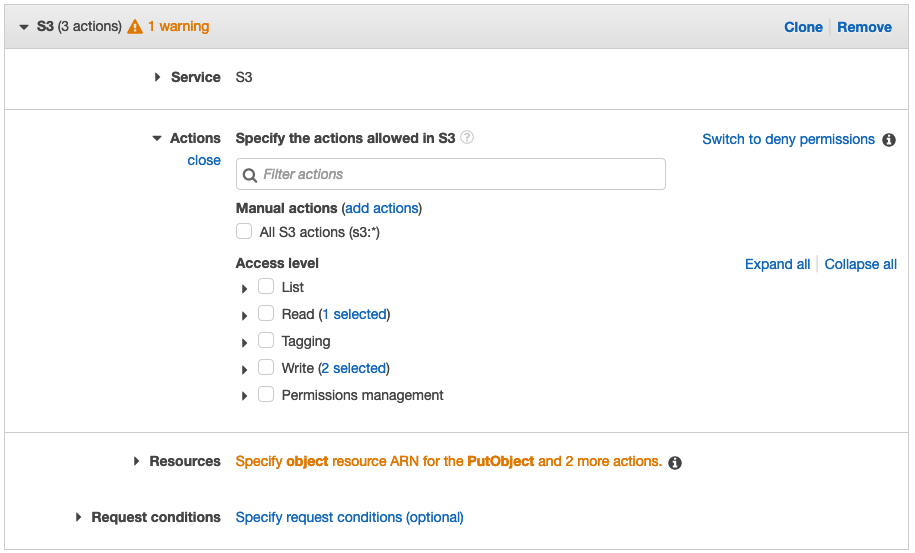 A screenshot of the Create Policy actions selection