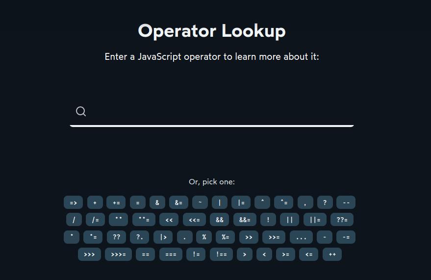 Operator Lookup by Josh W. Comeau