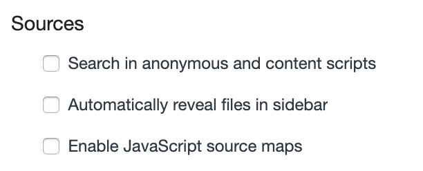 "Unchecked ""Enable JavaScript source maps"""