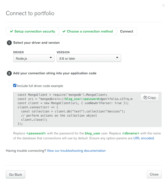 Code snippet to connect database at MongoDB Atlas