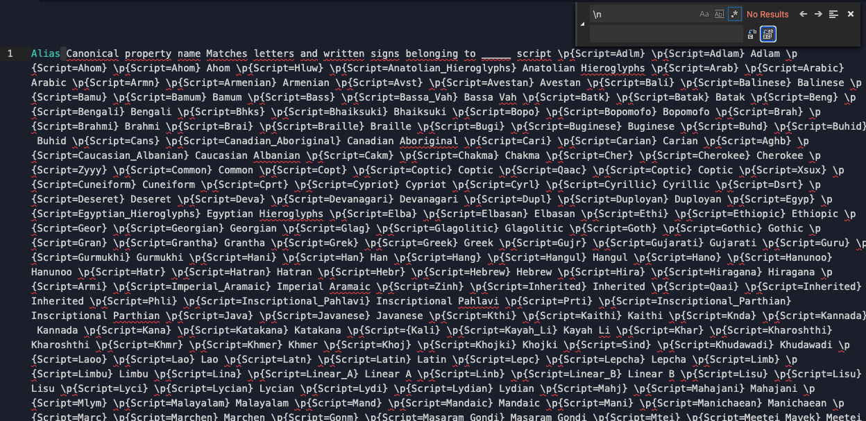 Repl result of running the find/replace operation - now all of the text is on one line