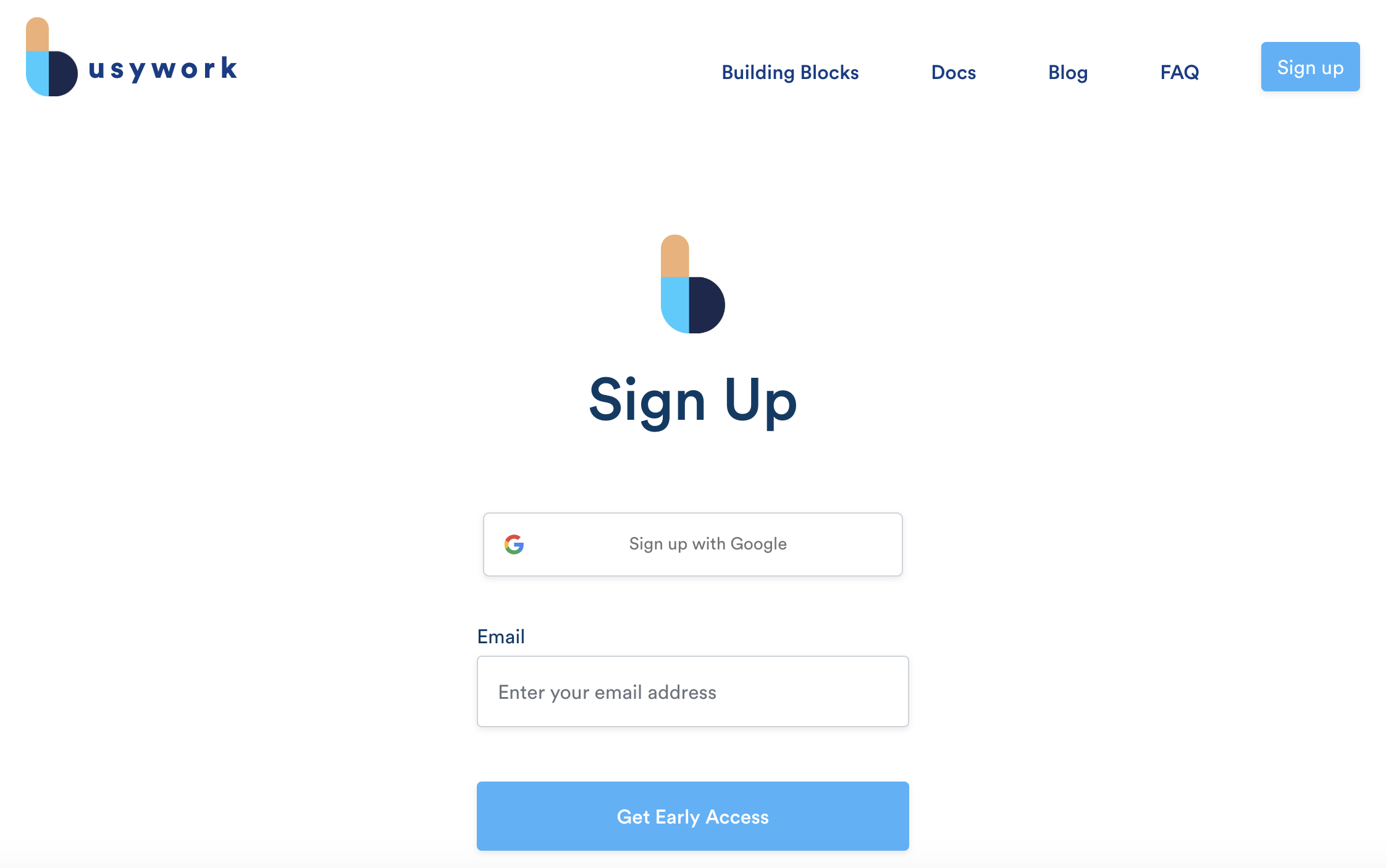 Sign Up with Busywork