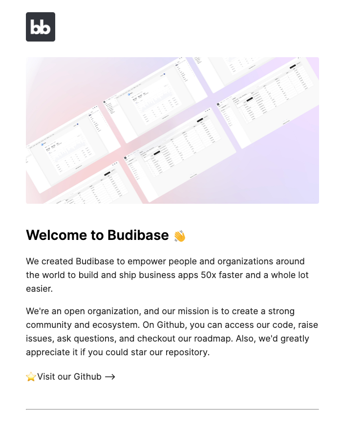 Welcome to Budibase email