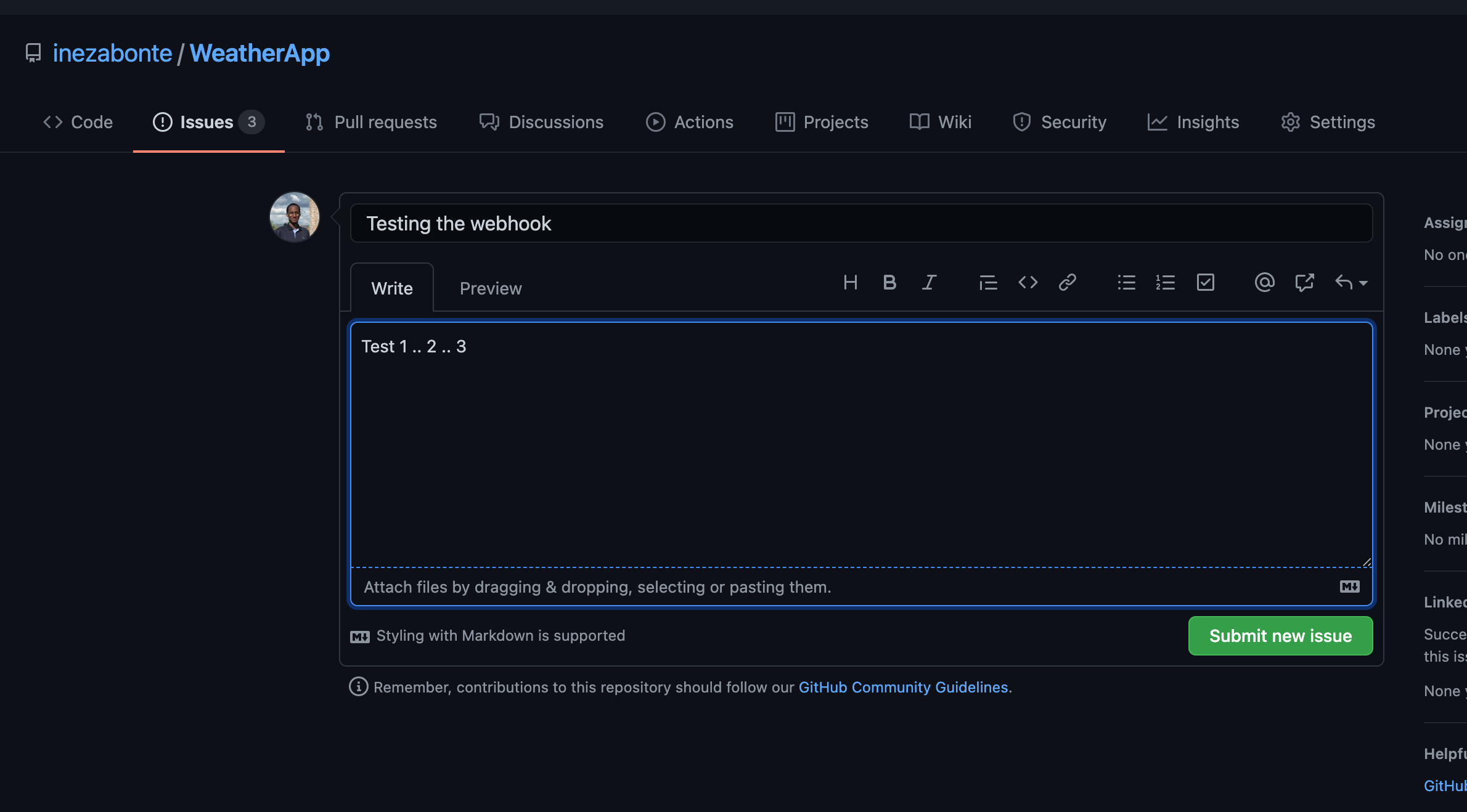 A screenshot of creating a test issue
