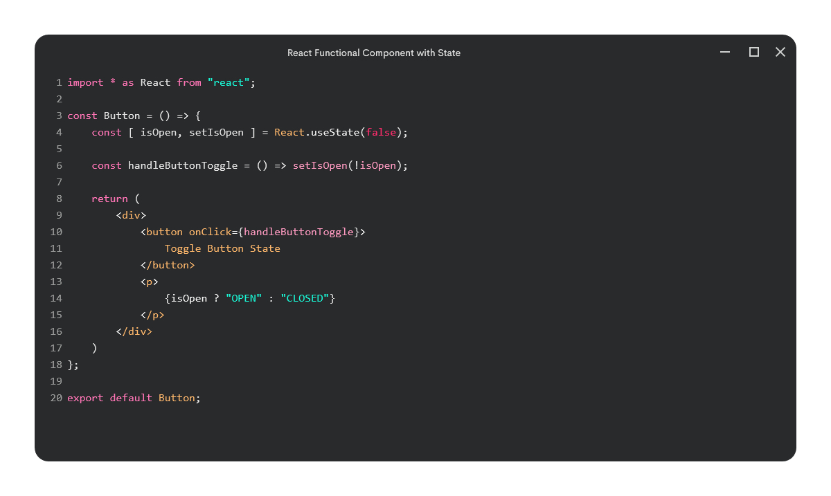 React functional component with state