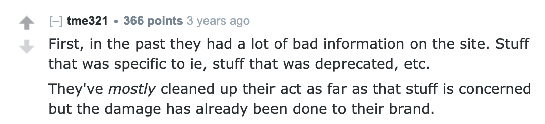Reddit's opinion on w3schools