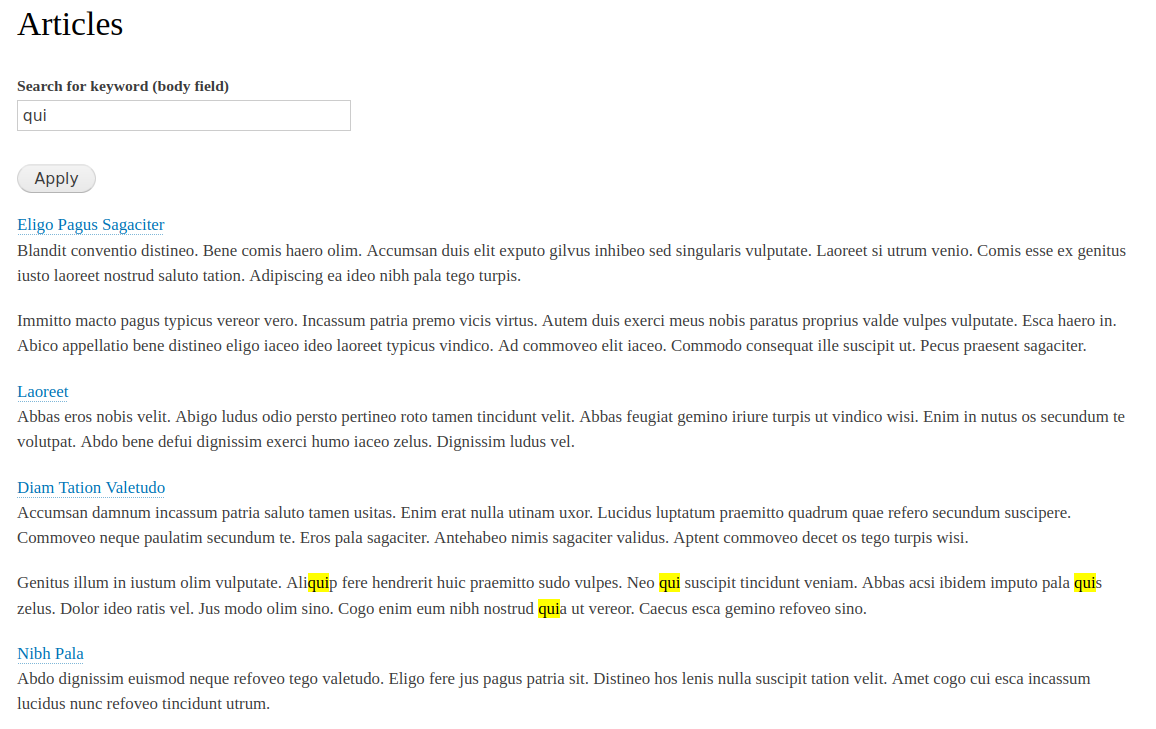Screenshot of a view with certain words highlighted
